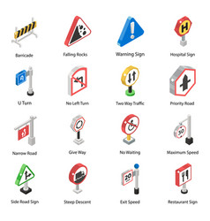 Travelling guide sings isometric icons pack vector