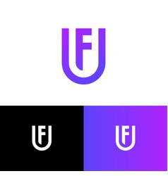 u and f letter monogram shield web icon vector image