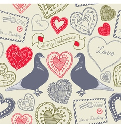 Vintage Love Birds Valentines Card vector image