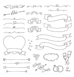 wedding vintage set design elements vector image