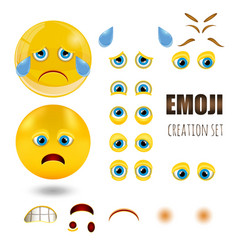 yellow sad smiley emoticons set emoji vector image