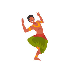 Young man performing folk dance smiling indian vector