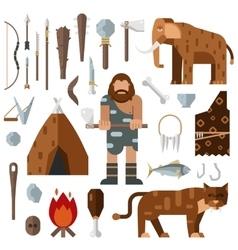 Life stone age caveman cave bonfire mammoth bone vector image