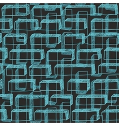 Seamless hand drawn pattern with blue buttons vector image