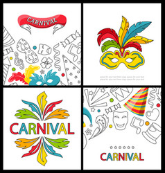 set celebration festive banners for happy carnival vector image vector image