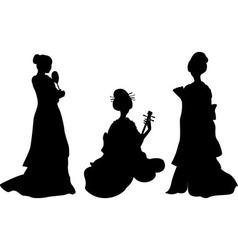Asian woman geisha set of silhouettes vector image vector image