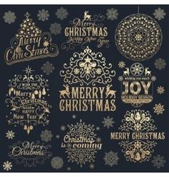 Big set of christmas calligraphic design elements vector