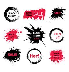black friday sale grunge design element set vector image