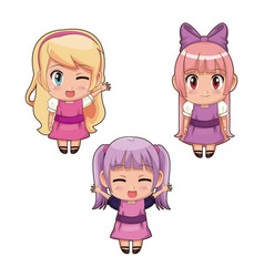 colorful set full body cute anime girls facial vector image