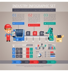 Industry Infographic Set with Factory Conveyor and vector image vector image