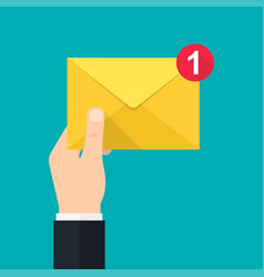 new incoming message hand holds envelope vector image vector image