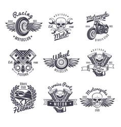 Vintage monochrome motorcycle labels set vector