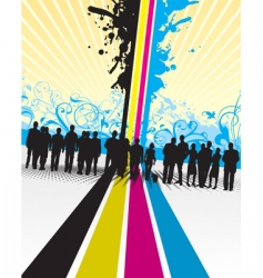 CMYK people splash with floral vector image vector image