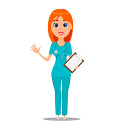nurse medical worker in blue uniform tunic and vector image