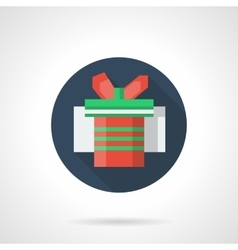 Red gift box blue round flat icon vector image vector image