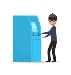 thief robber trying to steal money from atm vector image vector image