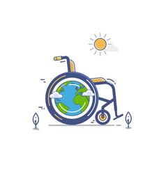 Whellchair or invalid disabled flat vector