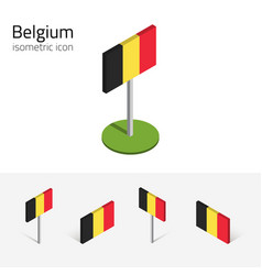 belgium flag set of 3d isometric icons vector image vector image