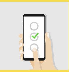 checkboxes on smartphone screen vector image vector image