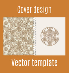 cover design with round mandala pattern vector image vector image