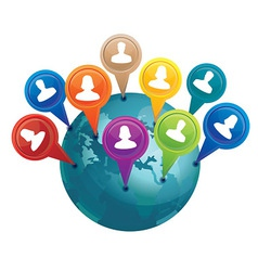 Globe with markers with friends - social media con vector