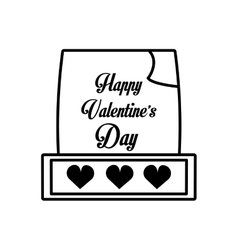 happy valentines day card hearts outline vector image