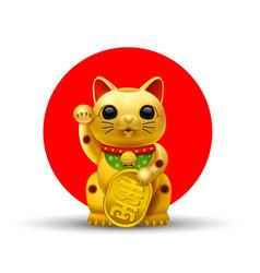 japan lucky cat golg vector image