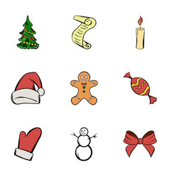 merry christmas icons set cartoon style vector image