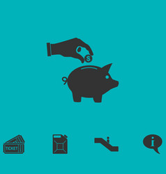 saving money with piggy icon flat vector image vector image