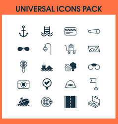 Tourism icons set with roadmap sunglasses tanker vector