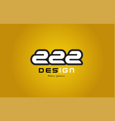222 number numeral digit white on yellow vector