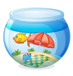 A water bowl and a fish vector