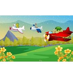 Animals flying plane vector