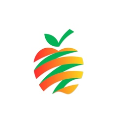 Apple fruit abstract ribbon fresh logo vector