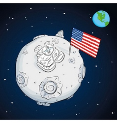 Astronaut whith flag usa on the moon color vector