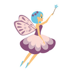 Beautiful flying fairy flapping magic stick elf vector
