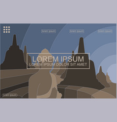 Borobudur temple abstract background vector