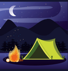 Camping zone with tent and nightscape vector