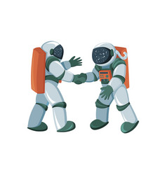 cartoon astronauts meeting and handshake in space vector image