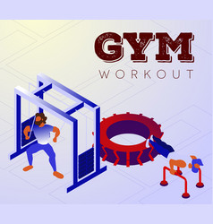 Cartoon bodybuilders training arms on gym machines vector