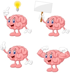 Cartoon funny brain collection set vector