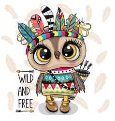 Cartoon tribal owl with feathers on a white vector