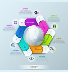 circular infographic design layout with 6 spiral vector image
