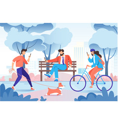 city park with relax people with cellphone dog on vector image