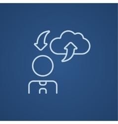 Cloud computing line icon vector image