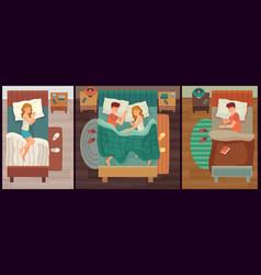 Couple people sleeping man and woman asleep vector
