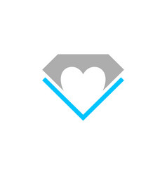 creative heart diamond logo design vector image