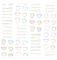 Cups Mugs Silverware Outline Seamless Pattern vector image