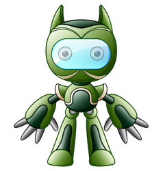 cute cartoon green robot isolated on white backgro vector image
