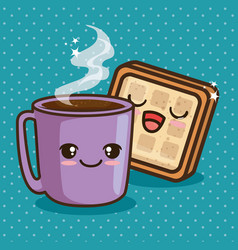 cute kawaii breakfast food cartoon vector image